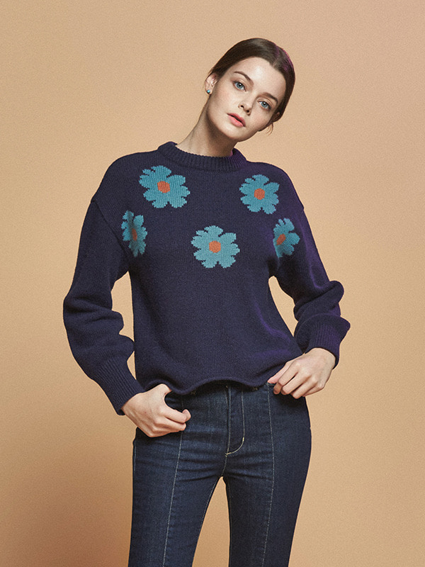 FLOWER POINT WOOL KNIT_NAVY