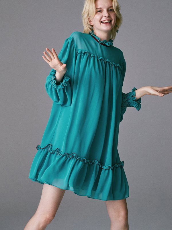 SMOKING SLEEVES COLOR POINT MINI DRESS_OCEAN BLUE