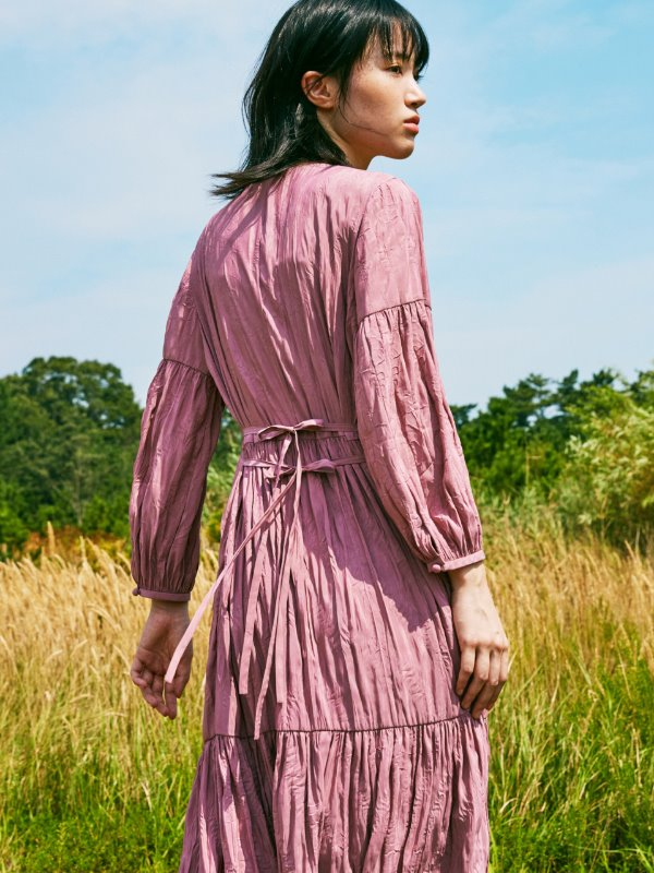 WRINKLE SHIRRING DRESS_PINK