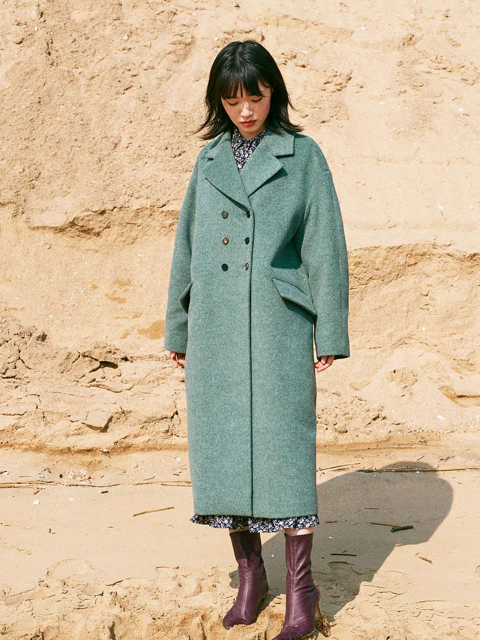 LOOSE FIT WOOL COAT_ASH MINT