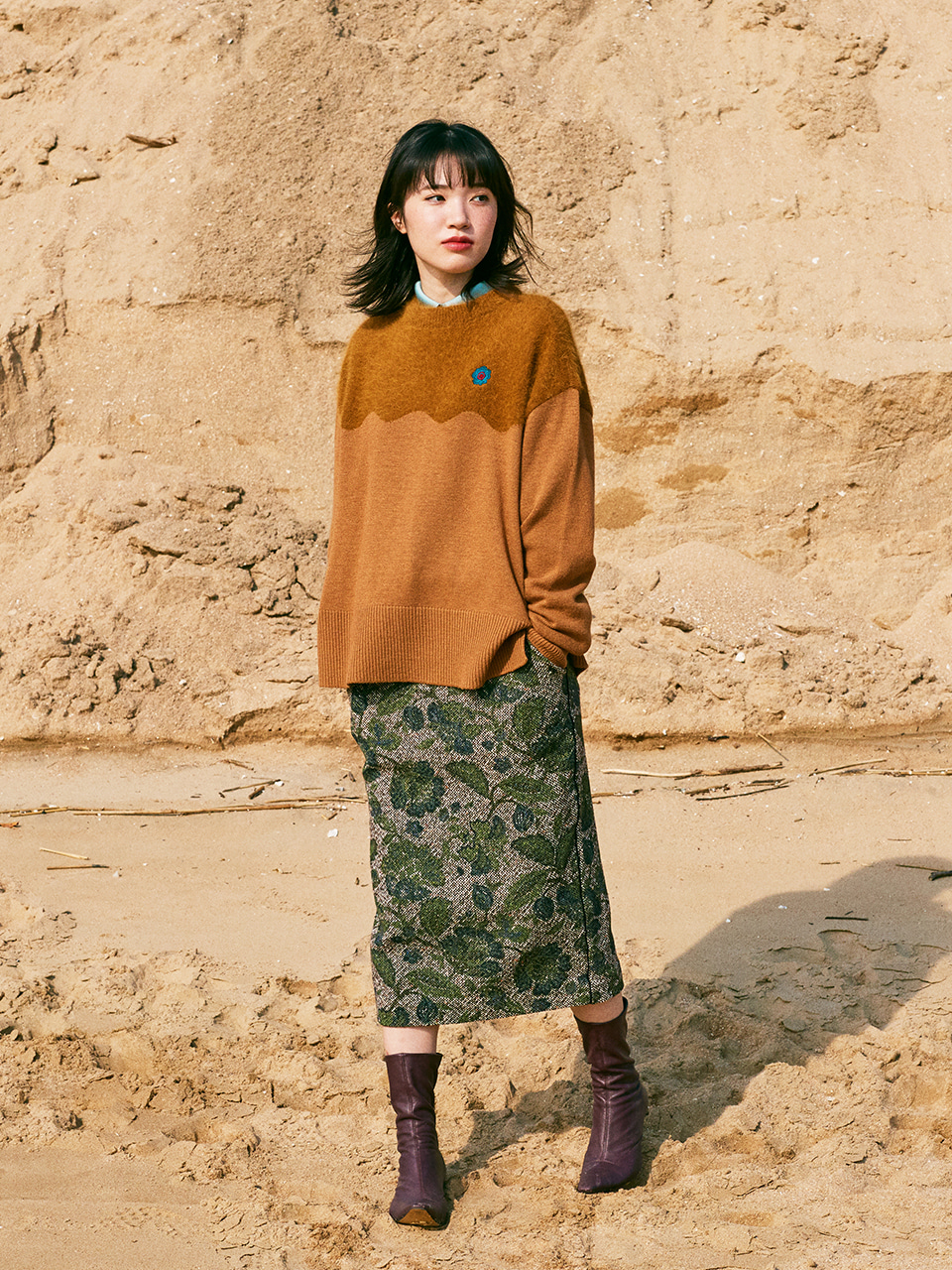 FLOWER PAINTED WOOL MIDI SKIRT_GREEN