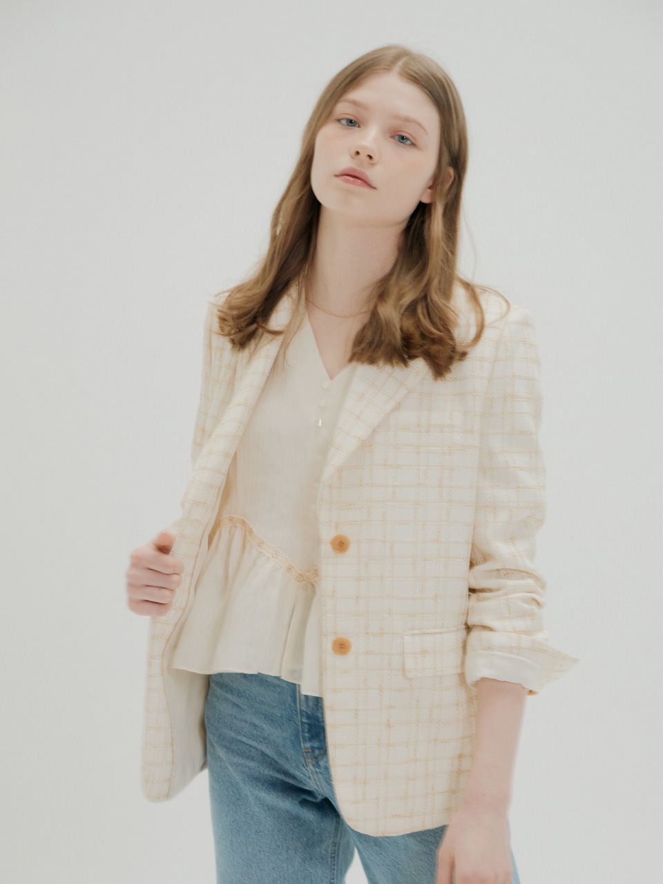 TWEED CHECK JACKET_IVORY