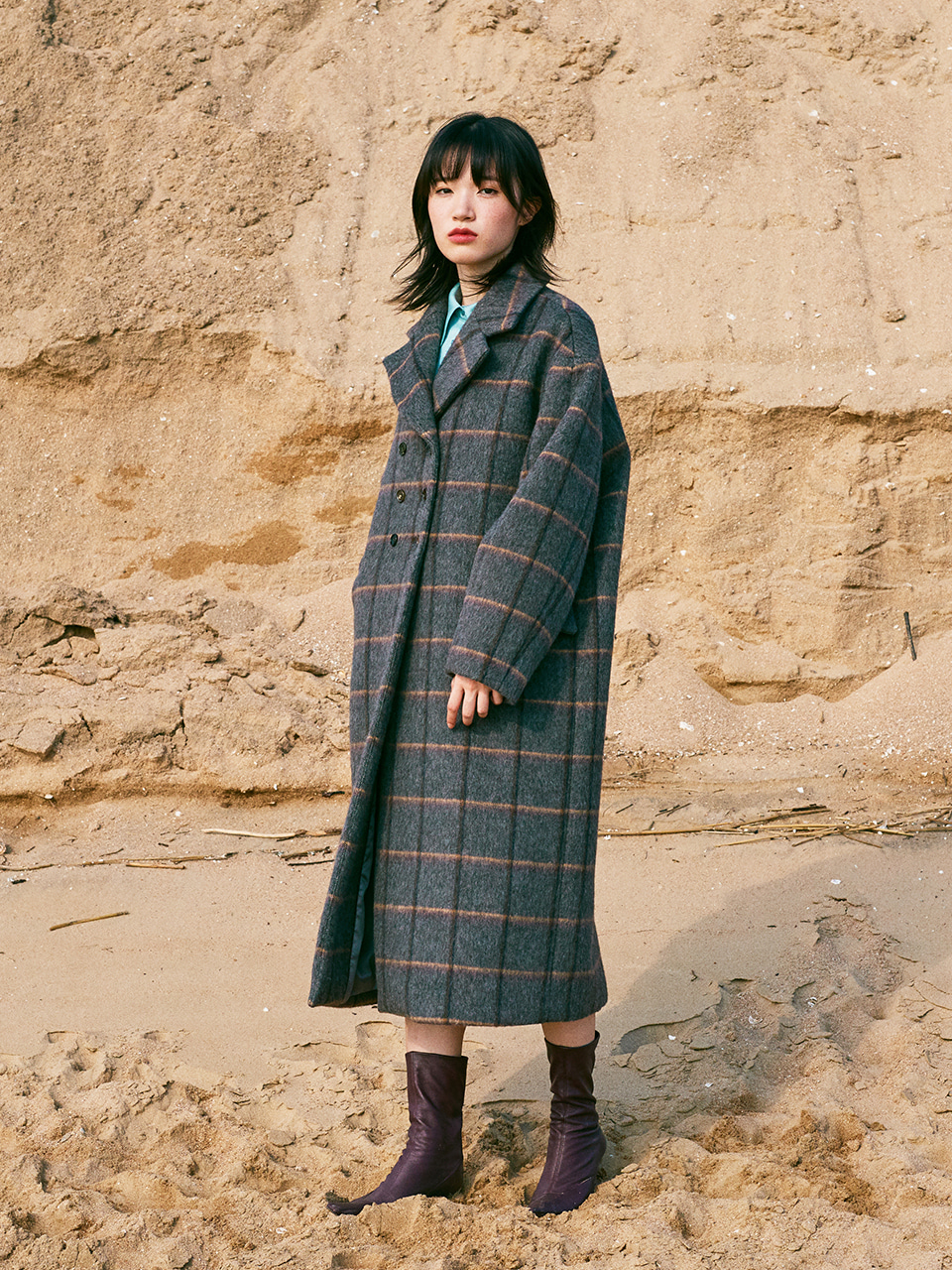 LOOSE FIT WOOL CASHMERE COAT_GRAY