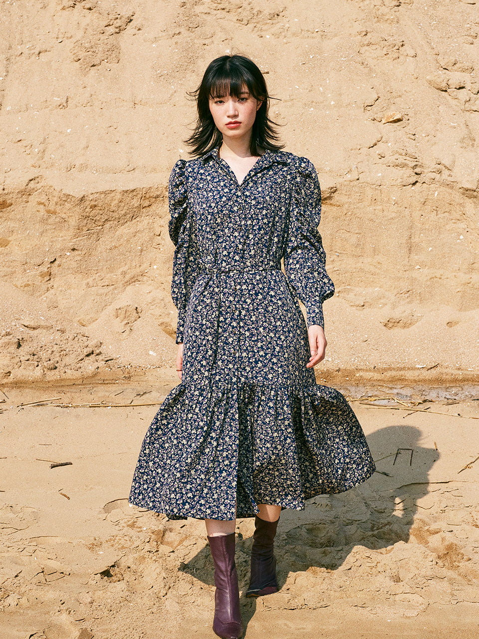 FLOWER PATTERN SHIRRING SLEEVE DRESS_NAVY