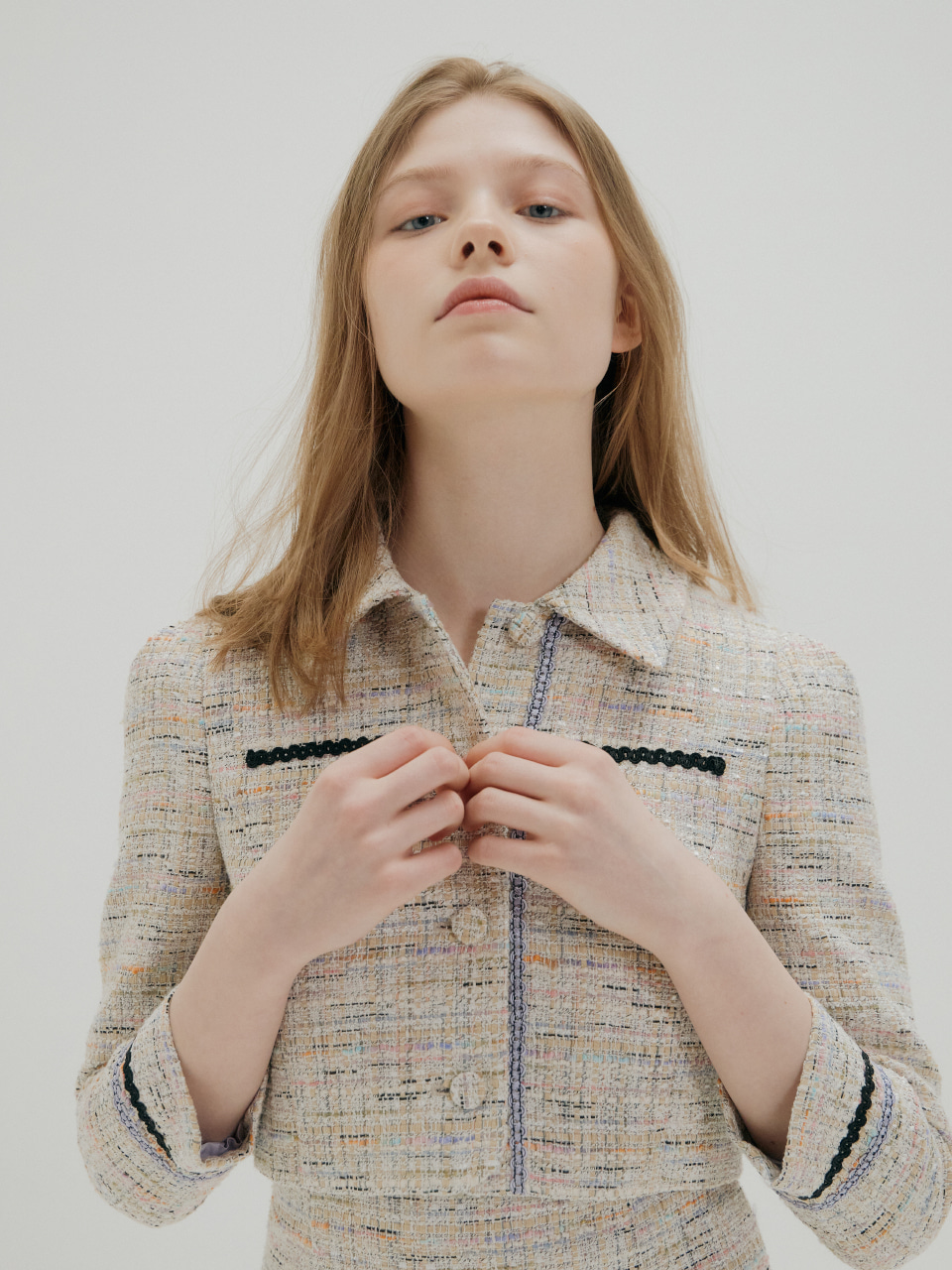 TWEED SHORT JACKET_BEIGE