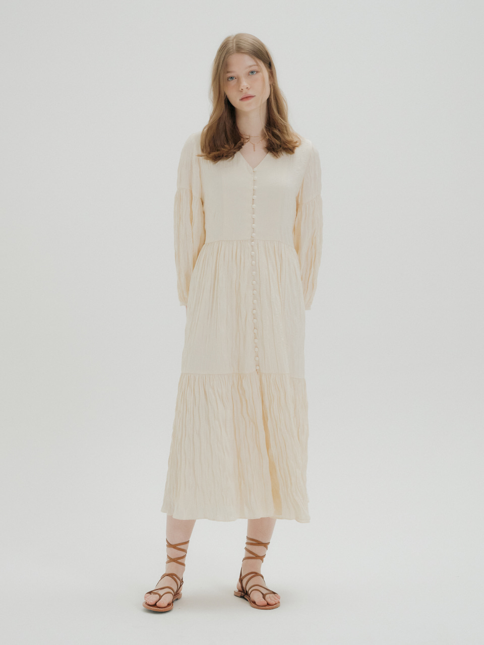 [예약주문_4/23 출고 예정] WRINKLE SHIRRING DRESS_IVORY