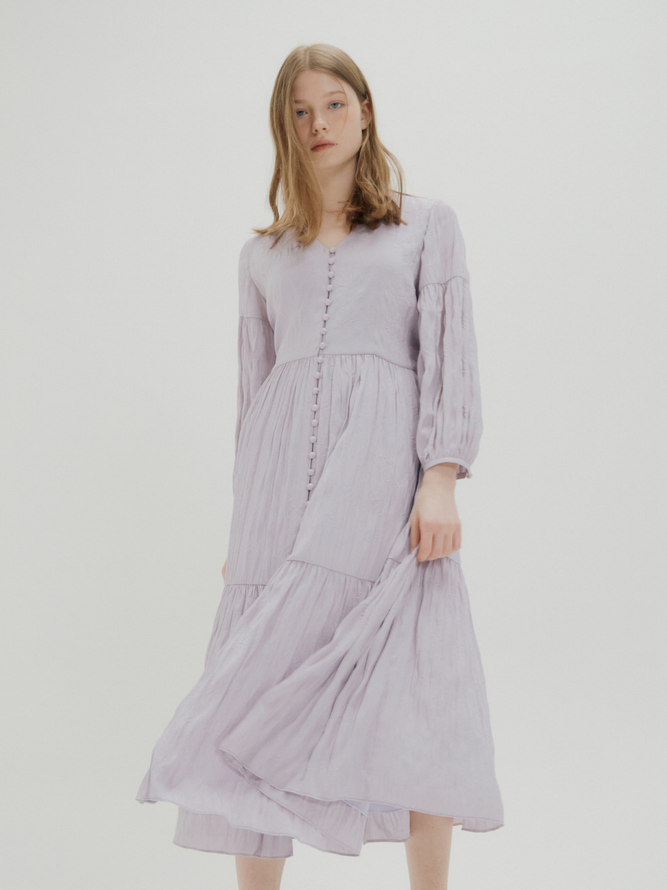 [예약주문_4/23 출고 예정] WRINKLE SHIRRING DRESS_LIGHT VIOLET